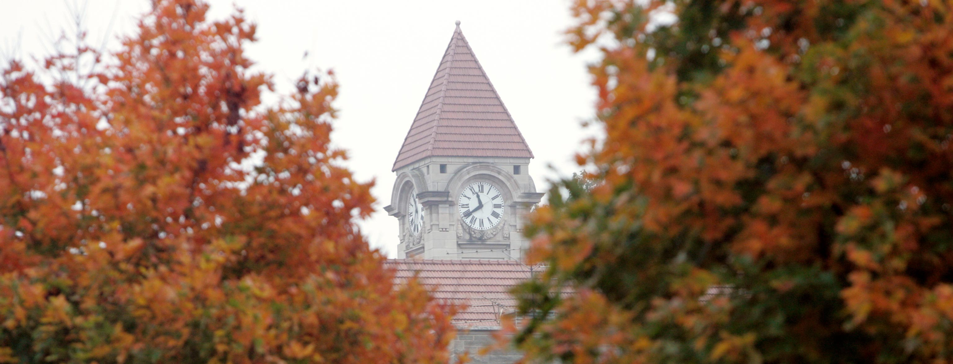 Clock tower of IU Bloomington's Student Building
